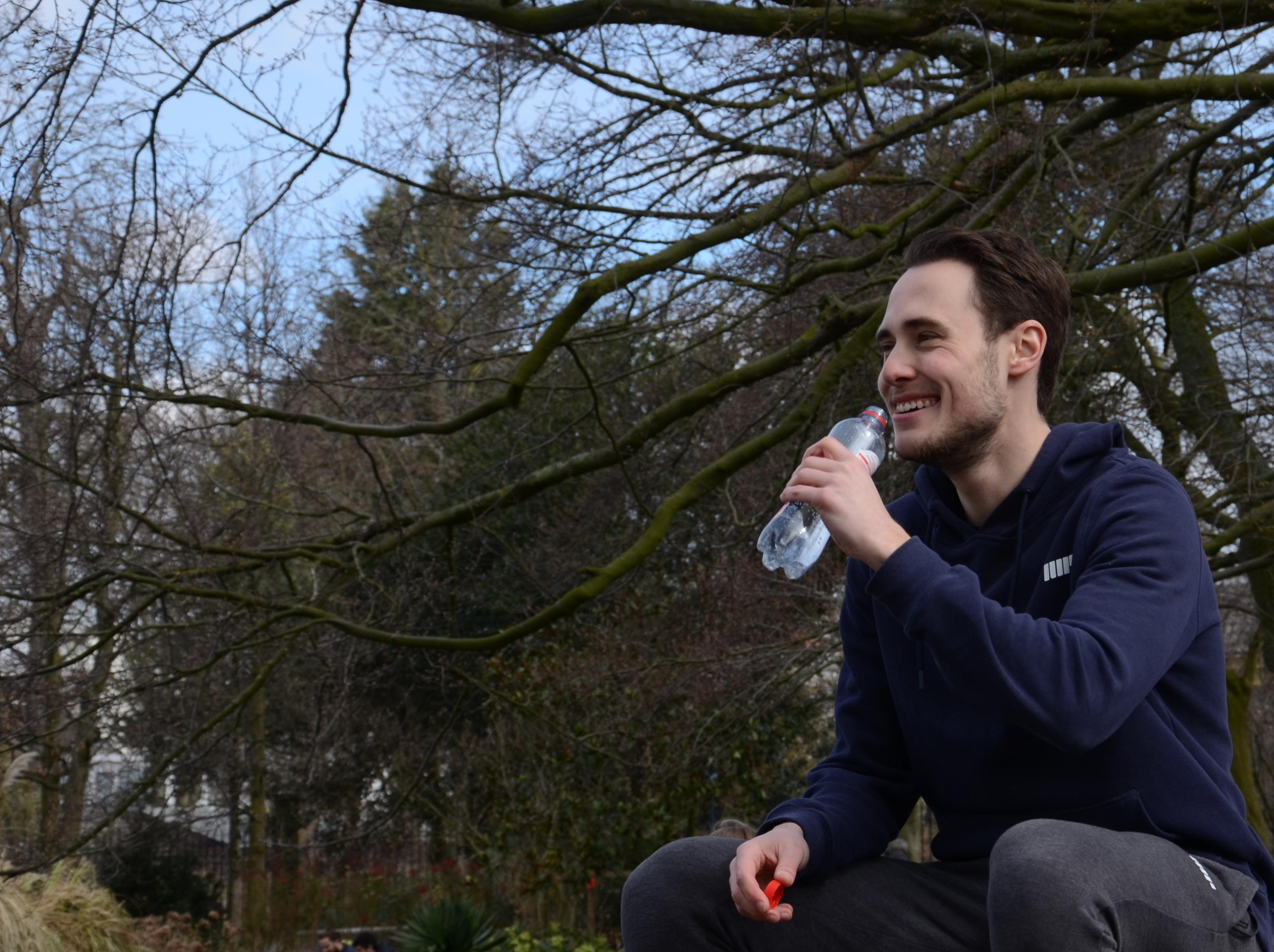 Foto waarin ik water drink